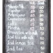 Sheep coffee menu on blackboard — Stock Photo