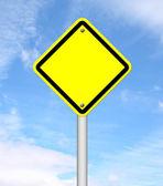Mavi gökyüzü ile boş sarı trafik işaret — Stok fotoğraf