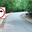 Curved Road Traffic Sign on a a road — Stock Photo