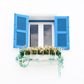 Greek Style windows and flower — Stock Photo