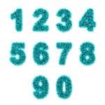 Light blue tinsel digits on white — Stock Photo #26529175