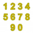 Yellow tinsel digits on white — Stock fotografie