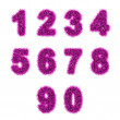 Pink tinsel digits on white — Foto de Stock