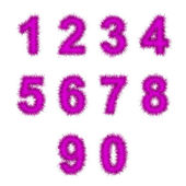 розовый мишуры цифры на белом — Стоковое фото