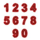 Cifre orpello rossi su bianco — Foto Stock