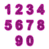 Pink tinsel digits on white — Stock Photo
