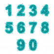 Light blue tinsel digits with star on white — 图库照片