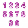 Pink tinsel digits on white — 图库照片