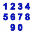 Blue tinsel digits on white — 图库照片