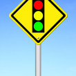Traffic light ahead warning sign — Stock Photo