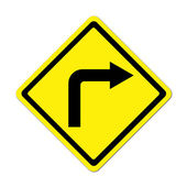 Road Sign - Right Turn Warning — Stock Photo