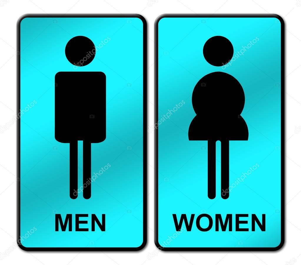 Imagen Baño Para Mujeres:Letrero de baño hombre y mujer — Foto de stock © geargodz