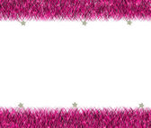 Christmas pink tinsel frame — Stock Photo
