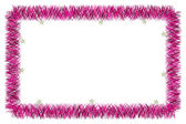 Christmas pink tinsel frame — Stockfoto