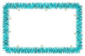 Christmas blue tinsel frame — Stock Photo
