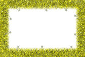 Christmas yellow tinsel frame — Stockfoto