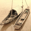 Wooden boat on Mekong river — Stock Photo