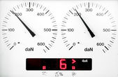 Panel control meter of car braking test — Stock Photo