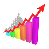 A bars graph, with an arrow going up — Stock Photo
