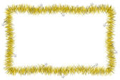 Christmas yellow tinsel frame — Stock Photo