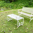 White bench and table — Stock Photo