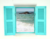 Greek style window with sea view — Stock Photo