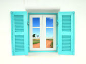 Greek style windows with soil curve road — Stock Photo