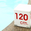 Stock Photo: 120 cm. water depth sign