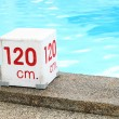 120 cm. water depth sign — Stock Photo
