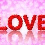 liefde tekst gemaakt van hart vorm — Stockfoto