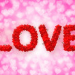 Love text made of heart shape — Stock Photo