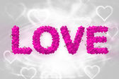 Kalp şeklinde yapılan metin seviyorum — Stok fotoğraf