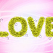 Stock Photo: Text love with tinsel pattern
