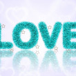 Text love with tinsel pattern — Stockfoto