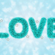 Text love with tinsel pattern — Stok fotoğraf