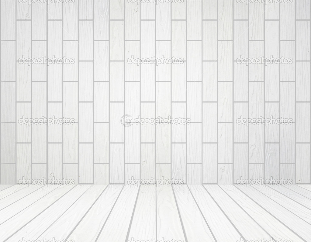 White wood wall (block style) and wood floor background ...
