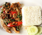 A fresh dish of Thai style food, Fried pork with sweet basi — Stock Photo