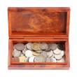 Opened wooden moneybox with coins on white background — Stock Photo