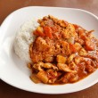 Spicy chicken curry and rice — Stock Photo #34572689
