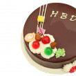 Stock Photo: Happy birthday chocolate cake on white