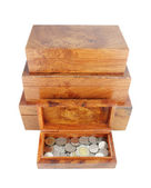Opened wooden moneybox with coins — Stock Photo