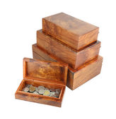 Opened wooden moneybox with coins — Stockfoto