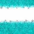 Blue christmas tinsel texture background — Stockfoto