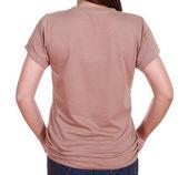 Крупным планом девушки с пустым футболку (тыльная сторона) — Стоковое фото