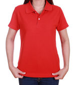 Blank red polo shirt on woman — Stock Photo