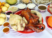 Boiled chicken and Stewed duck and various food for Chinese New  — Stock Photo