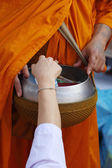 Hand put food offerings in a Buddhist monk's alms bowl — Stock Photo
