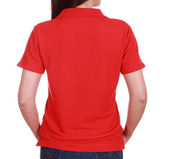 Close-up female with blank green polo shirt (back side) — Stock Photo