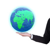 Earth globe in business woman hand — Stock Photo
