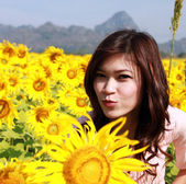 Women in the field of sunflowers — Stock Photo